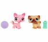 HASBRO Littlest Petshop - Petshop Duo ou avec accessoires Chien Carlin et chat - 93654 + Littlest Petshop - Petshop Duo Seepferdchen und Corgi 94850