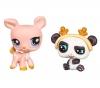 HASBRO Littlest Petshop - Petshop Duo oder mit Accessoires Reh und Panda - 94127 + Littlest Petshop - Petshop Duo Seepferdchen und Corgi 94850
