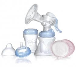 NUBY Stillset Comfort (Handmilchpumpe + Fläschchen 150 ml + Fläschchen 240 ml + 12 Stilleinlagen)
