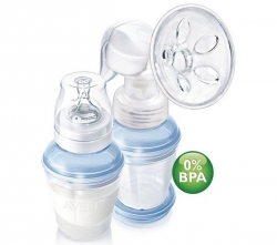 PHILIPS AVENT Hand-Milchpumpe SCF310/12 + Aufbewahrungsbehälter + Still-BH Lycra Baumwolle weiß 105 C